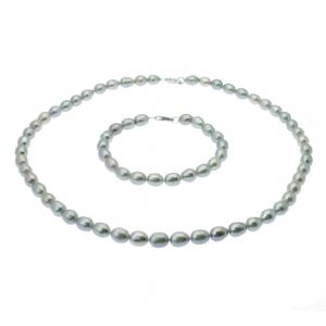 Pearl Necklace & Bracelet Set Sterling Silver Grey Oval Cultured Pearls